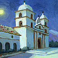 Santa Barbara Mission Moonlight by Diane McClary