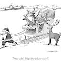 Santa Claus Pulls A Sleigh Full Of Reindeer by Joe Dator