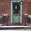 Santa Fe Blue Door And Adobe House by Dave Dilli