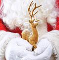 Santa Holding Reindeer Figure by Amanda Elwell