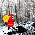Santa In Christmas Woodlands by Patrick J Murphy