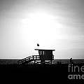 Santa Monica Lifeguard Tower In Black And White by Paul Velgos