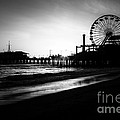 Santa Monica Pier In Black And White by Paul Velgos