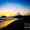 Santa Monica Pier Pacific Ocean Sunset by Paul Velgos