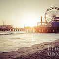 Santa Monica Pier Retro Sunset Picture by Paul Velgos