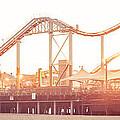 Santa Monica Pier Roller Coaster Panorama Photo by Paul Velgos