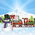 Santa On Train With Snow Scene by Jit Lim