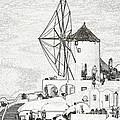 Santorini Windmill by Ewa Husejko-Swoszowska