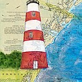 Sapelo Island Lighthouse Ga Nautical Chart Map Art Cathy Peek by Cathy Peek