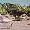 Sardine Dories On The Beach by Thomas Stratton