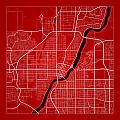 Saskatoon Street Map - Saskatoon Canada Road Map Art On Color by Jurq Studio