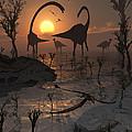 Sauropod And Duckbill Dinosaurs. by Mark Stevenson