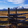 Sawtooth Mountains And Wooden Fence by Vishwanath Bhat