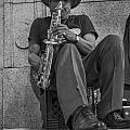 Sax Player In Chicago  by John McGraw