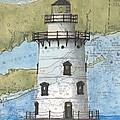 Saybrook Lighthouse Ct Chart Map Art by Cathy Peek