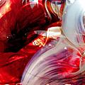 Scarlet Swirls Abstract by Angela Rath
