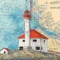 Scarlett Pt Lighthouse Bc Canada Chart Art by Cathy Peek