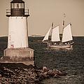 Schooner sailing into harbor