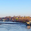 Schuylkill River At Boathouse Row And  The Fairmount Waterworks by Bill Cannon