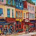 Schwartzs Deli And Warshaw Fruit Store Montreal Landmarks On St Lawrence Street  by Carole Spandau