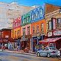Schwartzs Deli Montreal Street Scene by Carole Spandau