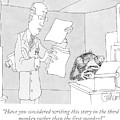 Scientist Talking To Monkey At Typewriter by Gahan Wilson