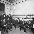 Scientists With Microscopes by Underwood Archives