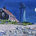 Scituate Light By Night by Karol Wyckoff