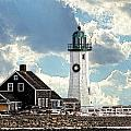 Scituate Lighthouse In Winter by Constantine Gregory