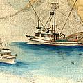 Scooter Fishing Boat Nautical Chart Map Art by Cathy Peek