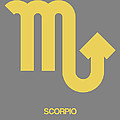 Scorpio Zodiac Sign Yellow on Grey by Naxart Studio