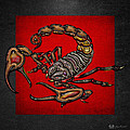 Scorpion On Red And Black Leather by Serge Averbukh
