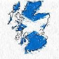 Scotland Painted Flag Map by Antony McAulay