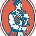 Scotsman Scottish Bagpipes Retro by Aloysius Patrimonio