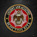 Scottish Rite Double-headed Eagle On Black Leather by Serge Averbukh