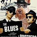 Scottish Terrier Art Canvas Print - The Blues Brothers Movie Poster by Sandra Sij