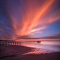 Scripps Pier Sunset - Square by Larry Marshall