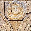 Sculpted Medusa Head At The Forum Of Severus At Leptis Magna In Libya by Robert Preston