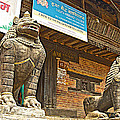Sculptures Of Protector Figures In Front Of Sufata Buddhist College In Patan Durbar Square by Ruth Hager