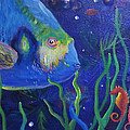 Sea Horse And Blue Fish by Anne Marie Brown