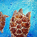 Sea Turtles Swimming Towards The Light Together by Ashleigh Dyan Bayer
