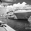 Seafair Art Venue Yacht Moored In Miami - Black And White by Ian Monk