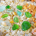 Seaglass Green Art Prints Agates Beach Garden by Baslee Troutman