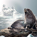 Harp Seal And Native Hunters by Regina Femrite