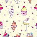 Seamless Pattern Delicious Ice Cream by Natalia Flurno
