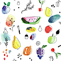 Seamless Pattern With Fruits, Berries by Loliputa