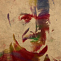 Sean Connery Actor Watercolor Portrait On Worn Distressed Canvas by Design Turnpike