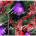 Seasons Greetings - Greeting Card - Purple - Red - Gold by Barbara Griffin