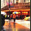 Season's Greetings - Yellow And Blue Umbrella - Holiday And Christmas Card by Miriam Danar