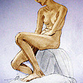 Tinted Figure Drawing Of A Seated Female Nude Dreaming by Greta Corens